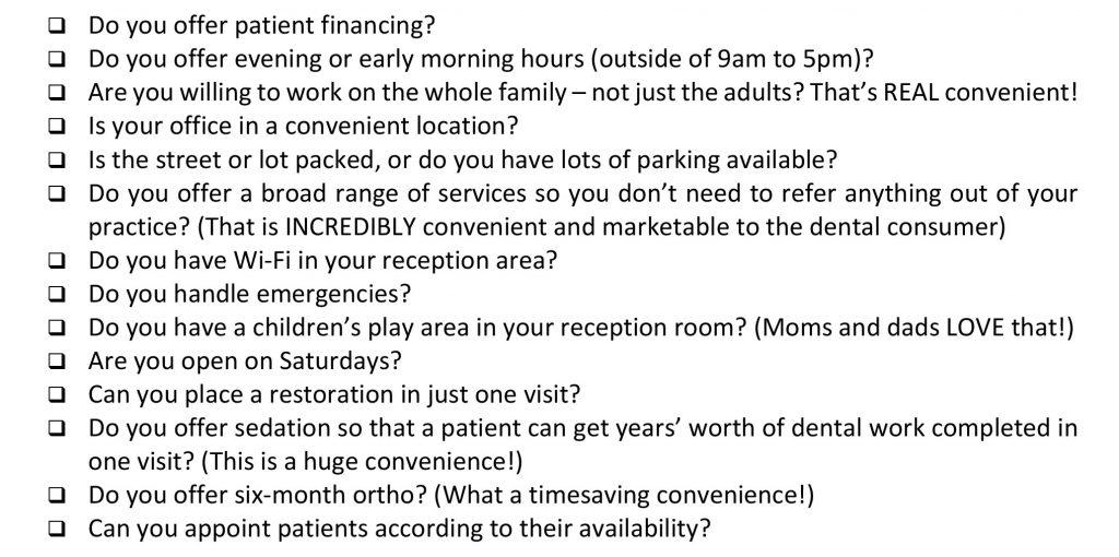 Dental Conveniences Checklist
